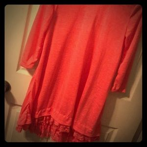 Hot Ginger Lace Trimmed Maternity Tunic - Size M